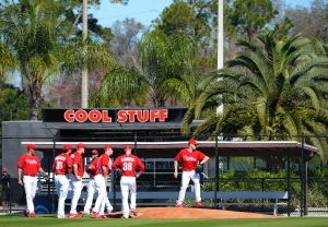 Pitchers work on fielding drills during workouts Sunday in Clearwater.