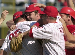 Philadelphia Phillies pitcher Kevin Millwood, center, reacts as he is congratulated by teammates after pitching a no-hitter against the San Francisco Giants Sunday, April 27, 2003 in Philadelphia. The Philles won 1-0. (AP Photo)