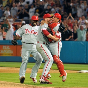 Philadelphia Phillies v Florida Marlins Credit:      Robert Vigon/Florida Marlins More from this photographer Caption:MIAMI - MAY 29: Roy Halladay of the Philadelphia Phillies is congratulated by his teammates after he pitched a perfect game against the Florida Marlins at Sun Life Stadium on Saturday, May 29, 2010, in Miami, Florida. Roy Halladay pitched a perfect game for the 20th perfect game in MLB history. (Photo by Robert Vigon/Florida Marlins