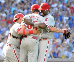 CHICAGO, IL - JULY 25: Cole Hamels #35 of the Philadelphia Phillies celebrates his no hitter with Ryan Howard #6 and Carlos Ruiz #51 July 25, 2015 at Wrigley Field in Chicago, IllinoisHamels pitched a no hitter and the Phillies won 5-0. (Photo by David Banks/Getty Images)