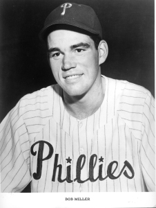 "Robert John Miller Position: Pitcher Bats: Right, Throws: Right Height: 6' 3"", Weight: 190 lb. Born: June 16, 1926 in Detroit, MI (Age 89.253) High School: St. Mary's HS (Detroit, MI) School: University of Detroit Mercy (Detroit, MI) Signed by the Philadelphia Phillies as an amateur free agent in 1948. (All Transactions) Debut: September 16, 1949 (Age 23.092, 8,220th in MLB history)   vs. CIN 1.0 IP, 1 H, 0 SO, 0 BB, 0 ER Rookie Status: Exceeded rookie limits during 1950 season [*] Team: Phillies 1949-1958 Last Game: August 10, 1958 (Age 32.055)   vs. MLN 3.0 IP, 7 H, 3 SO, 1 BB, 6 ER"