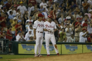 June 28, 2004, in Philadelphia. (AP Photo/H. Rumph, Jr.) Against the Montreal Expos, Bell doubled, homered, singled, and in the bottom of the seventh, legged out a triple to become the first Phillie to hit for the cycle since Gregg Jeffries did it in 1995. He also even drew a walk against Expo starter Sun-Woo Kim, ultimately going 4-4 for the day with six total RBIs. In doing so, Bell also became part of the first grandfather-grandson cycle-hitting tandem in baseball history, with grandpappy Gus Bell having done so in 1951 for the Pittsburgh Pirates.