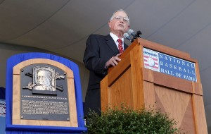COOPERSTOWN, NY - JULY 24:  Pat Gillick gives his speech at Clark Sports Center during the Baseball Hall of Fame induction ceremony on July 24, 2011 in Cooperstown, New York.Gillick spent 27 years as the general manger with four major league clubs (Toronto 1978-94, Baltimore 1996-98, Seattle 2000-03 and Philadelphia 2006-08). His teams advanced to the postseason 11 times and won the World Series in 1992, 1993 and 2008.  (Photo by Jim McIsaac/Getty Images)
