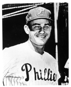 "Delmer Ennis Position: Leftfielder Bats: Right, Throws: Right Height: 6' 0"", Weight: 195 lb. Born: June 8, 1925 in Philadelphia, PA High School: Olney HS (Philadelphia, PA) Signed by the Philadelphia Phillies as an amateur free agent in 1943. (All Transactions) Debut: April 28, 1946 (Age 20.324, 7,867th in MLB history)   vs. BSN 1 AB, 0 H, 0 HR, 0 RBI, 0 SB Rookie Status: Exceeded rookie limits during 1946 season  Teams (by GP): Phillies/Cardinals/WhiteSox/Redlegs 1946-1959 Last Game: June 14, 1959 (Age 34.006)   vs. BAL 2 AB, 0 H, 0 HR, 0 RBI, 0 SB Died: February 8, 1996 in Huntingdon Valley, PA (Aged 70.245) Buried: Hillside Cemetery, Roslyn, PA"