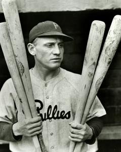 Philadelphia Phillies Chuck Klein holding bats,1944